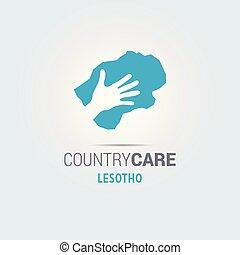 La ilustración de unas manos aisladas que ofrecen firmar con el mapa de Lesotho