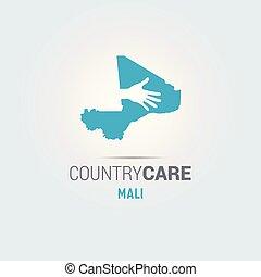 La ilustración de unas manos aisladas que ofrecen firmar con el mapa de Mali