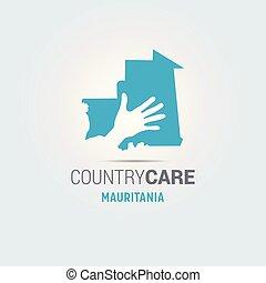 La ilustración de unas manos aisladas que ofrecen firmar con el mapa de Mauritania