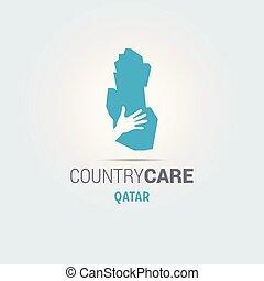 La ilustración de unas manos aisladas que ofrecen firmar con el mapa de Qatar
