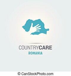 La ilustración de unas manos aisladas que ofrecen firmar con el mapa de Rumania