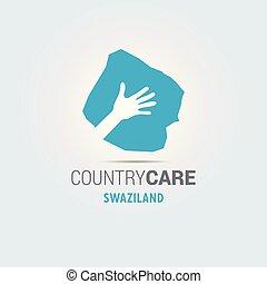 La ilustración de unas manos aisladas que ofrecen firmar con el mapa de Swaziland