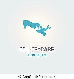 La ilustración de unas manos aisladas que ofrecen firmar con el mapa de Uzbekistán