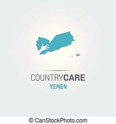 La ilustración de unas manos aisladas que ofrecen firmar con el mapa de Yemen