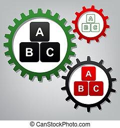 La ilustración del cubo de ABC. Vector. Tres engranajes conectados