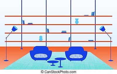 La ilustración del interior moderno