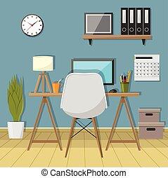 La ilustración del lugar de trabajo moderno en la habitación. Espacio de oficina creativa