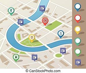La ilustración del mapa de la ciudad con ubicación