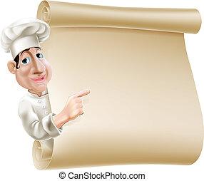 La ilustración del menú del chef