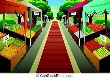 La ilustración del mercado de agricultores