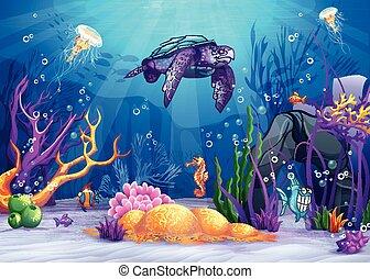 La ilustración del mundo submarino con un divertido pez y tortuga