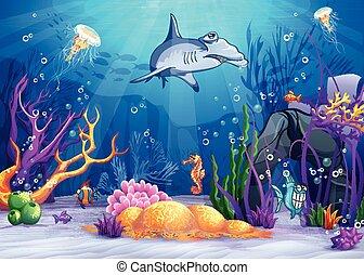 La ilustración del mundo submarino con un pez raro y un tiburón martillo