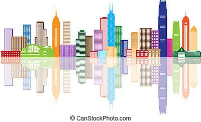La ilustración del panorama de colores de Hong Kong