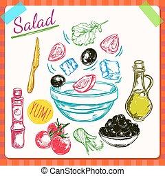 La ilustración del proceso de cocina de ensaladas