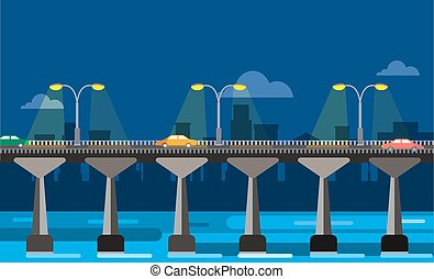 La ilustración del puente moderno de la ciudad nocturna