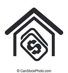 La ilustración del vector de la casa compra un solo icono aislado