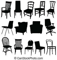La ilustración del vector de la silla en color negro