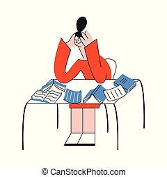 La ilustración del vector de una mujer sobrecargada de trabajo sentada en la mesa llena de documentos de papel dispersos.