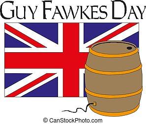 La ilustración del vector del día de Happy Guy Fawkes con fuegos artificiales y barriles de pólvora en las vacaciones del Reino Unido