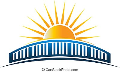 La ilustración del vector del horizonte del sol