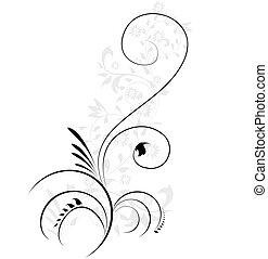 La ilustración del vector del remolino florece en un elemento floral decorativo