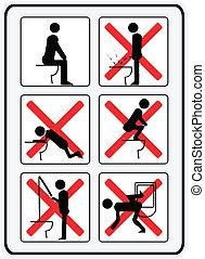 La ilustración indica cómo no usar un baño