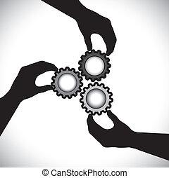 La ilustración muestra tres siluetas de mano que sostienen tres ruedas de engranaje y las giran en sincronía y equilibrio