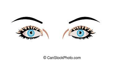 La ilustración realista de los ojos está aislada en el fondo blanco