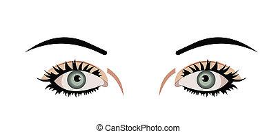 La ilustración realista de los ojos están aislados en el fondo blanco
