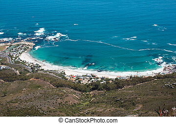 La imagen de la playa Clifton de la cabeza de los leones