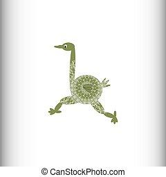 La imagen estilizada de un avestruz.