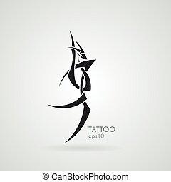 La imagen estilizada de un dragón. Vector. Tatuaje.