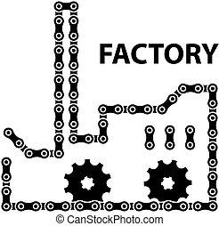 La industria de la fábrica de vectores encadena la silueta