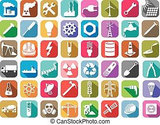 La industria y la energía de la colecta de iconos planos