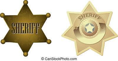 La insignia del sheriff de oro