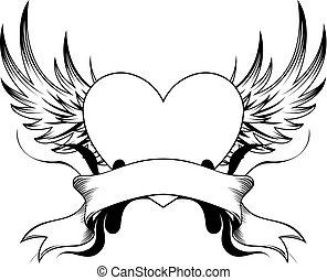 La insignia del tatuaje del corazón