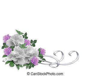 La invitación a la boda son rosas