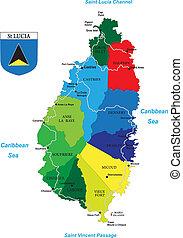 La isla caribeña del mapa de Santa Lucía
