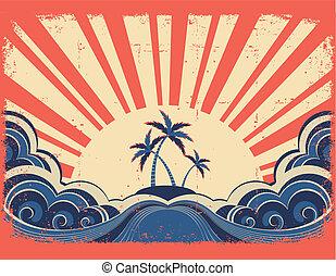 La isla del paraíso en el fondo de papel grunge con el sol