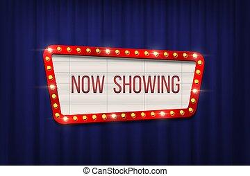 La junta de anuncios de cine retro con un marco de bombilla en las cortinas azules. Diseño de vectores.