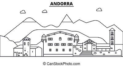 La línea de arquitectura de Andorra ilustración en el horizonte. Vector lineal Cityscape con puntos de referencia famosos, vistas de la ciudad, iconos de diseño. Landscape wtih derrames editables
