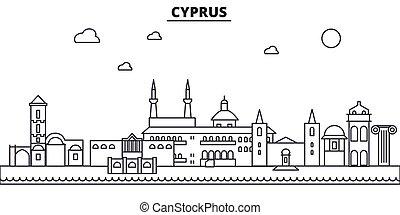 La línea de arquitectura de Chipre ilumina el horizonte. Vector lineal Cityscape con puntos de referencia famosos, vistas de la ciudad, iconos de diseño. Landscape wtih derrames editables