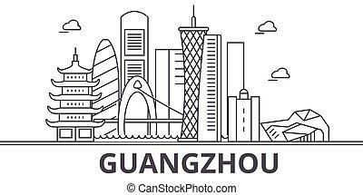 La línea de arquitectura de Guangzhou ilumina el horizonte. Vector lineal Cityscape con puntos de referencia famosos, vistas de la ciudad, iconos de diseño. Landscape wtih derrames editables
