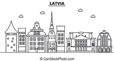 La línea de arquitectura de Letonia ilustración en el horizonte. Vector lineal Cityscape con puntos de referencia famosos, vistas de la ciudad, iconos de diseño. Landscape wtih derrames editables