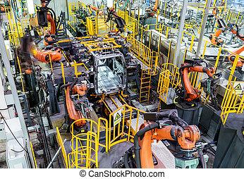 La línea de producción del robot