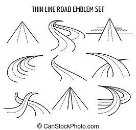 La línea delgada y los iconos de carretera. Señales de tráfico lineales de fondo blanco