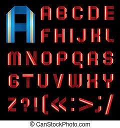 La letra ABC de la cinta de papel coloreada