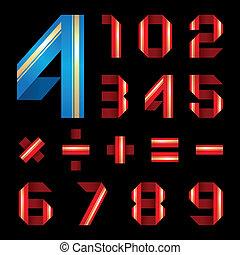 La letra ABC de la cinta de papel coloreada puso números
