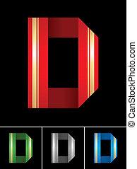 La letra ABC de la cinta de papel de colores D