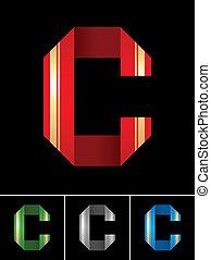 La letra ABC de la cinta de papel marcada con la letra C